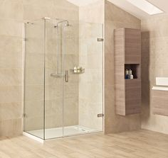 Liber8 Hinged Door with One In-Line Panel and Side Panel  https://www.roman-showers.com/shower-enclosures/liber8-shower-enclosures/liber8-hinged-door-with-one-in-line-panel-and-side-panel/