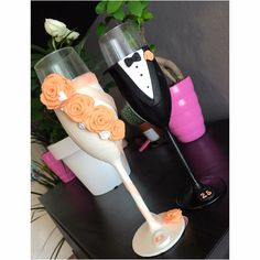 Wedding dress gift fiancee husband bride wife rose orange bow black suit champagne glass polymer clay handmade homemade