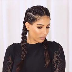 Hair Tutorial: 2 sides double braids. Credit: Farah Dhukai.