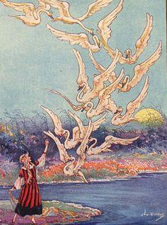The Wild Swans -- J. R. Neill -- Fairytale Illustration
