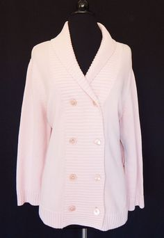 RALPH LAUREN Pale Pink Double Breasted Button Front Cardigan Sweater NWT Size XL #LaurenRalphLauren #Cardigan
