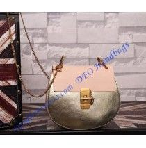 Chloe Small Drew Bicolor Shoulder Bag Gold Pink