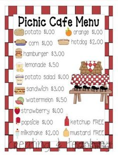 Dramatic Play Picnic Set:  study menus and then have the children make their own with drawing pictures and/or cutting pictures from the magazine
