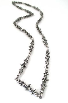 Guy Vidal, Canada - brutalist pewter 'knobbly' long link necklace