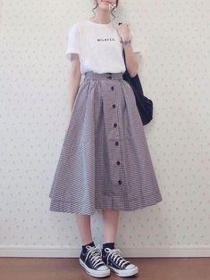Check out this Cool winter korean fashion korean Long Skirt Fashion, Modest Fashion, Fashion Dresses, Modest Clothing, Modest Outfits, Dress Outfits, Long Skirt Outfits, Tokyo Street Fashion, Korean Street Fashion