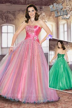 Tulle; Strapless; Ball Gown; Ombre; Beads/Sequins/Rhinestones; Pleats; Lace-up Back