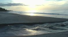 Paisagem com o nascer do sol sobre o rio e o fluxo de praia — Vídeo stock #24761971