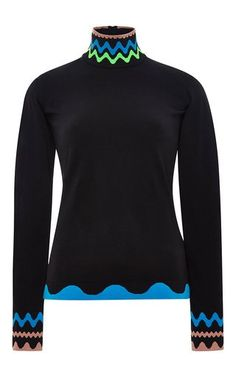Black squiggle knit turtleneck by PETER PILOTTO Now Available on Moda Operandi