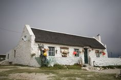 Typical fishermans cottage in the Kassiesbaai Village near Arniston. Building Painting, House Painting, Watercolor Landscape, Landscape Paintings, Landscapes, West Coast Fishing, Fishermans Cottage, Cape Dutch, Cottage Art