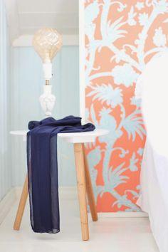 Bedroom, blue, orange, thibaut Juni, Blue Orange, Flooring, Bedroom, Wall, Furniture, Home Decor, Summer, Homemade Home Decor