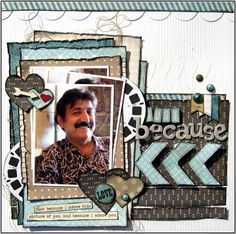 Little Scraps of Magic - Masculine scrapbook layout Love everything about this LO, great way to showcase a single pic 12x12 Scrapbook, Scrapbook Designs, Scrapbook Sketches, Scrapbook Page Layouts, Photo Layouts, Scrapbook Embellishments, Layout Inspiration, Making Ideas, Magic