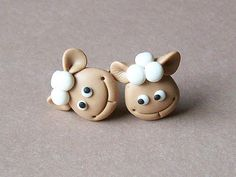 Sheeps earrings polymer clay fimo handmade by CreationsbyMD, $4.00