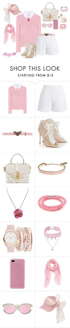 """Pink, White, Lace"" by cody-k ❤ liked on Polyvore featuring Altuzarra, Chicwish, Gucci, Jimmy Choo, Dolce&Gabbana, Ivanka Trump, Swarovski, A.X.N.Y., Design Lab and Shibaful"