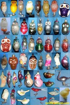 Beautiful different vintage glass bird ornaments for sale. Alluring antique owl Christmas ornaments, hand painted parrots, flamingoes, golden roosters, and sparrows for your Christmas tree. Vintage Christmas Ornaments 1950s, Antique Christmas Ornaments, Christmas Owls, Bird Ornaments, Victorian Christmas, Christmas Baubles, Christmas Colors, Christmas Tree Decorations, Vintage Jewelry Crafts