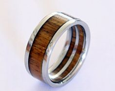 Titanium Ring With Wood Inlay Wooden Ring On A by ringordering
