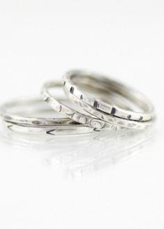 Recycled Silver Stacking Rings-Bohemi Handmade Gemstone Jewelry
