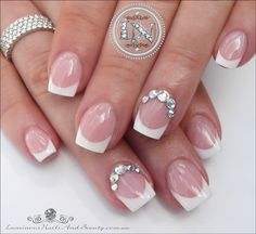 Pretty and Cute Bridal wedding French acrylic Nails. Sculptured acrylic with reverse application. French Acrylics, French Acrylic Nails, French Nails, Bridal Nails, Wedding Nails, Updo With Headband, Luminous Nails, Wedding Reception Music, Great Nails