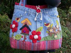 Feito por Mim! O artesanato para iniciantes!: Como Fazer uma Bolsa de uma Calça Jeans Velha - Passo à Passo                                                                                                                                                                                 Mais