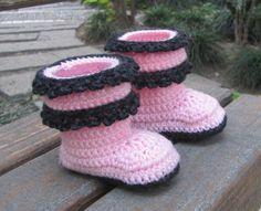Crochet Double-layered Ruffle Baby Boots - via @Craftsy