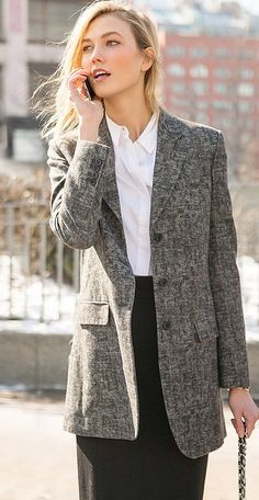 Fashion week street style: Karlie Kloss in a white button down and grey blazer