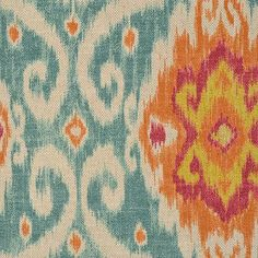 Hey, I found this really awesome Etsy listing at https://www.etsy.com/listing/109755978/orange-ikat-upholstery-fabric-teal