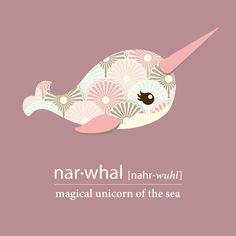 Girl Narwhal Print File Unicorn of the Sea by LiaDiaDesigns