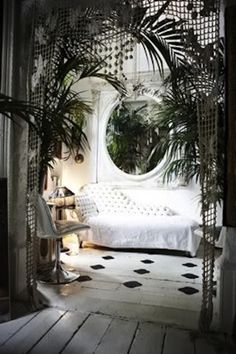 bohemian home decor love the arched door curtain