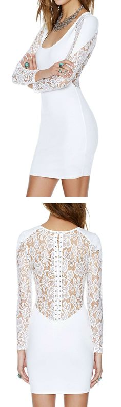 White lace up  bodycon