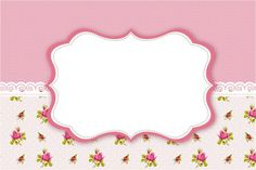 Convite, Moldura e Cartão Floral Rosa Vintage: