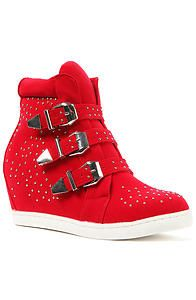 Buckled wedge sneakers red