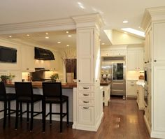 Traditional Island Style White kitchen, white cabinets, Amazing Spaces,