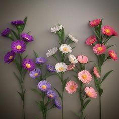 Aster flowers. #NectarHollow #handmade #paperart #crepepaper #paperflowers…