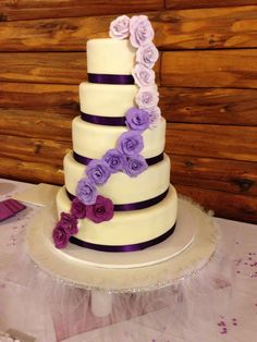 Purple Ombré Rose Wedding Cake, by Amy Hart