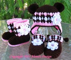 Crochet Pattern Set - Bear Hat , Baby Booties, and Baby Mittens (will make to order)