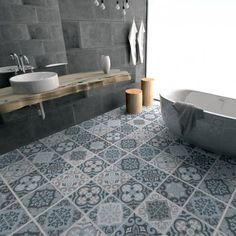 Vintage Blue Grey -Floor Tile Decals - Vinyl Floor - Bathroom flooring - Kitchen Flooring - Flooring - Tile Stickers - Tile Decals - PACK OF Tiles Decals - SKU Vinyl Flooring Bathroom, Bathroom Flooring, Bathroom Interior, Bathroom Decor, Flooring, Interior, Bathrooms Remodel, Tile Bathroom, Bathroom Design