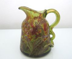 Emile Galle Antique Art Glass Pitcher with Enamel Painted Flowers