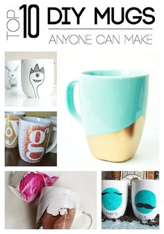 The best DIY projects & DIY ideas and tutorials: sewing, paper craft, DIY. Diy Crafts Ideas Top 10 DIY Mugs Anyone Can Make - Upload your Mug for a chance to win free coffee. Love these ideas even kids can make! Craft Gifts, Diy Gifts, Handmade Gifts, Cute Crafts, Diy And Crafts, Kids Crafts, Diy Becher, Diy Cadeau Noel, Craft Projects