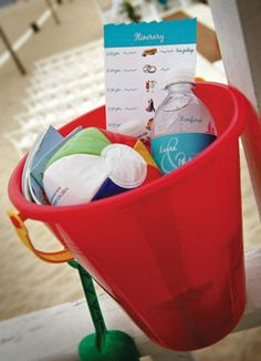 Welcome baskets—pails filled with water, maps and a wedding itinerary—were left in guests' hotel rooms.