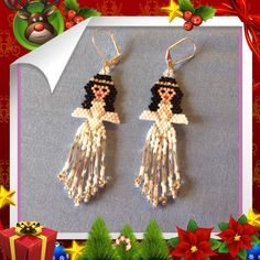 White Angels Beaded Earrings by Bead4Fun on Etsy, $30.00