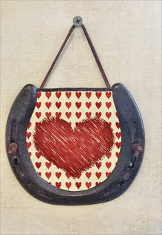 Abstract Heart Horseshoe Wall Hanging, Valentines Day Gift, Perfectly Aged Patina, Leather Lace Accent, Good Luck, Made to Order
