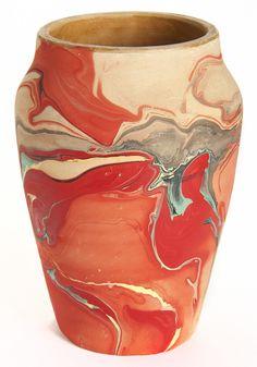 Nemadji Pottery of Minnesota #ceramics #pottery hmmmm I wonder how you marble underglazes onto ceramics...??? Carragheen Moss???