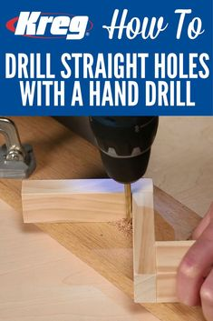 How To Drill Straight Holes with a Hand Drill without a Drill Press   Holding a hand drill perfectly perpendicular to the surface as you drill can be challenging. And if you don't drill straight holes, it can cause problems when driving in screws, mounting hardware, or assembling projects. Here are a couple of ways that you can drill straight holes for great results.