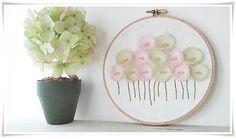 Embroidery hoop wall art  Pink Green Poppy by KawaiiSakuraHandmade, ¥7000