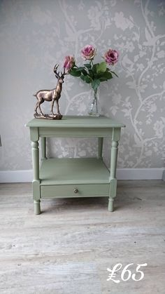 A Lovely Side Table With Drawer Hand Painted In Chateau Grey by Annie Sloan by LoveYourVintageHome on Etsy Grey Side Table, Side Table With Drawer, Side Tables, Vintage Furniture For Sale, Repurposed Furniture, Furniture Redo, Furniture Ideas, Chalk Paint Colors, Hand Painted Furniture