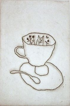 Cat and Cup - Michael Leunig - Chrysalis Gallery