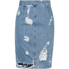 Acne Fine Trash Denim Skirt ($440) ❤ liked on Polyvore featuring skirts, bottoms, denim, юбки, acne studios, zipper pencil skirt, zipper skirt, ripped denim skirt y pencil skirt