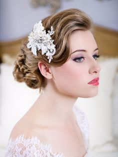 Crystal Lace Headpiece, Wedding Headpiece, Ivory Lace Pearl Crystal Bridal Hair Accessory, Lace Bridal Comb, STYLE 120 - Silver or Gold