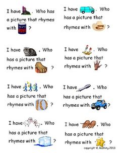Free! Rhyming: I have Who Has...