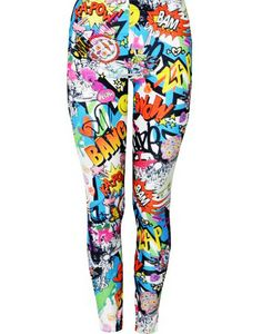 Comic Book Superhero Zap Bang Wow Love Heart Hero leggings tights