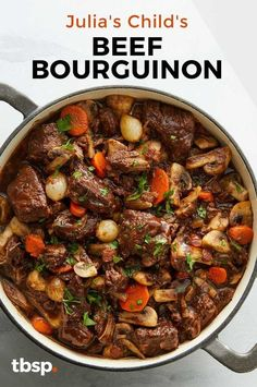 Julia Child's Beef Bourguignon - - Julia Child's Beef Bourguignon Dinner Ideas When a recipe is this good, there's no need to rush. Julia Child's Beef Bourguignon is a classic for a reason, and you'll see and taste why. Beef Recipes For Dinner, Cubed Beef Recipes, Pot Roast Recipes, Recipes With Beef Stew Meat, French Recipes Dinner, Crockpot Beef Recipes, Stewing Beef Recipes, Crock Pot Beef, Beef Dinner Ideas